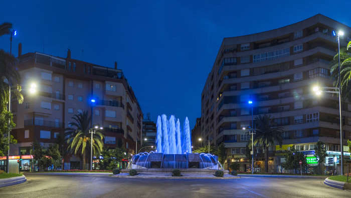 Square with fountain illuminated by Philips lighting as part of Bastions of light project