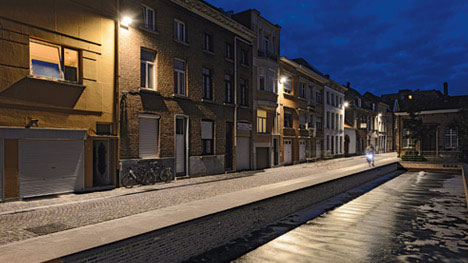 Canal-side street lit with Philips urban lighting