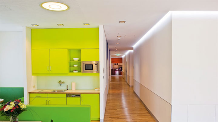 Colorful and calming environment of Altona Children's Hospital illuminated by Philips lighting