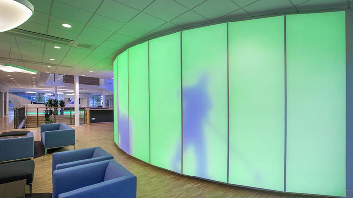 Luminous textile panels applied at the ISS University