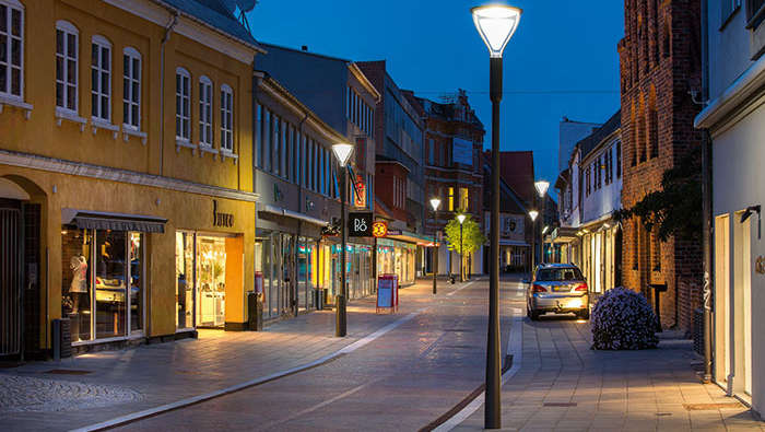 Shopping street illuminated with Philips city lighting