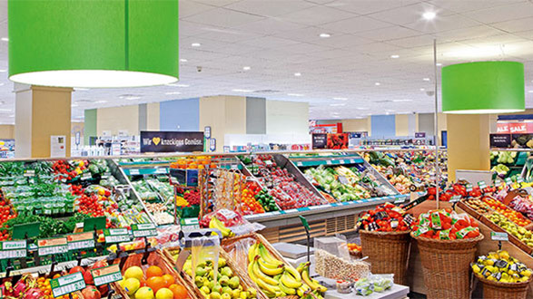 Philips luminaire with PerfectAccent reflectors nicely lit Edeka Supermarket