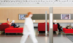 Enhanced environment in a hospital's waiting area with Philips sustainable healthcare lighting